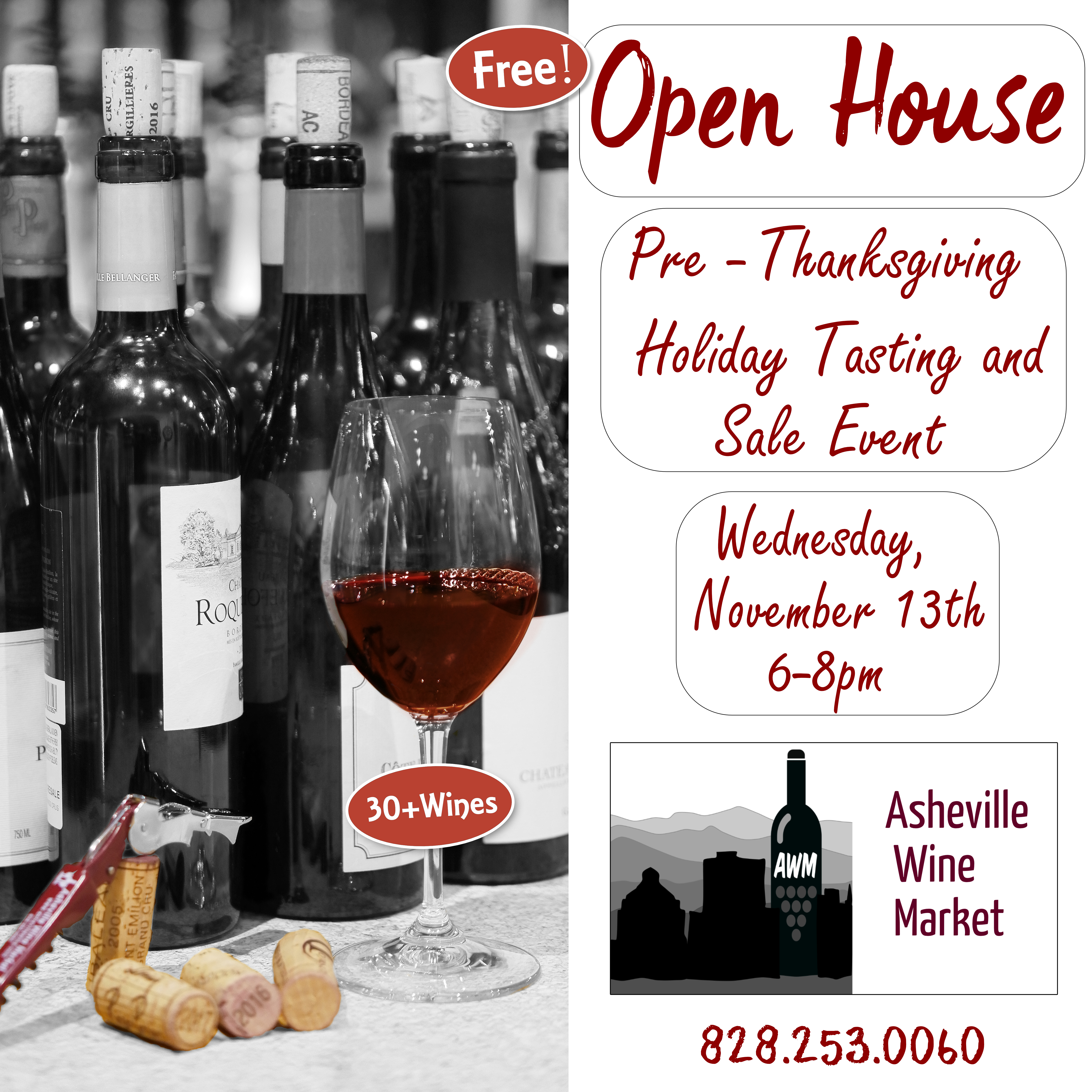 Don't miss our annual Free Thanksgiving Open House Sale Tasting.